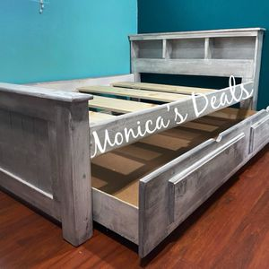 Full Size Solid Wood Bed & Twin Trundle Frame $420 for Sale in Downey, CA