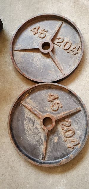 Pair of 45lb and 35lb Olympic weight plates for Sale in Modesto, CA