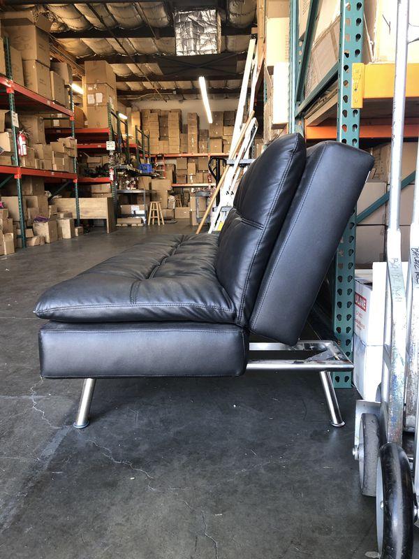 Modern Design Black Leather Futon