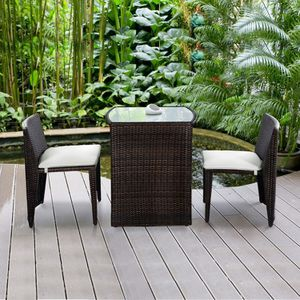 3 pcs Wicker Patio Cushioned Outdoor Chair and Table Set Home Furniture for Sale in Henderson, NV