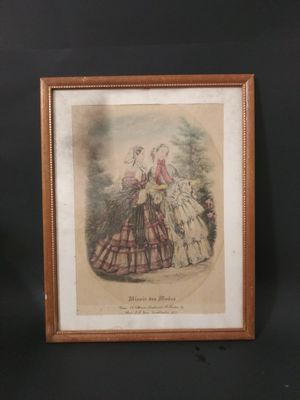 Miroir des Modes Framed French Fashion Art Prints Victorian 1800 Style. for Sale in North Bay Village, FL