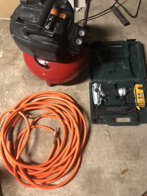 Air compressor hose and nail gun for Sale in Houston, TX