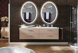 Wall Mounted Anti-Fog Dimmable Touch Button Mirror LED Lighted Oval Vanity Bathroom Makeup Mirrors with Magnifier for Sale in New York, NY