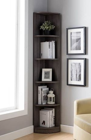 Chole Distressed Grey Color Corner Bookcase for Sale in Santa Ana, CA