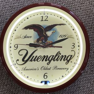 "RARE Collectible Large Yuengling Neon Light Clock. 20"" W x 6"" D Metal and Glass Electric Clock for Sale in Hasbrouck Heights, NJ"