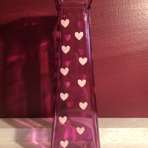 Pink Glass Flower Vase With Pink Hearts for Sale in Lancaster, PA