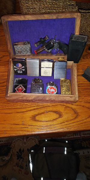 Gold inlayed box and 4 Zippo lighters plus some others for Sale in Tulsa, OK