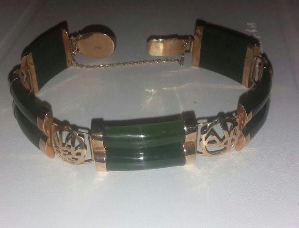 14K Vintag MARKED GOLD Oriental Jade Double Stack Clasp bracelet