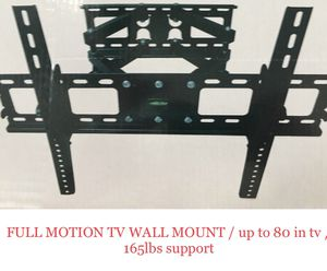 Brand new tv wall mount / full motion / up to 80 inch tv / 165lbs Max support (PRICE IS FIRM) for Sale in San Antonio, TX