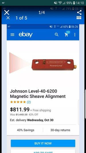 Johnson 40-6200 Magnetic Sheave Alignment tool Laser Level for Sale in Greenville, SC