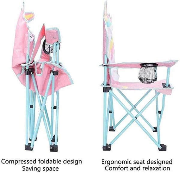 KABOER Kids Outdoor Folding Lawn and Camping Chair with Cup Holder, Mermaid Camp Chair