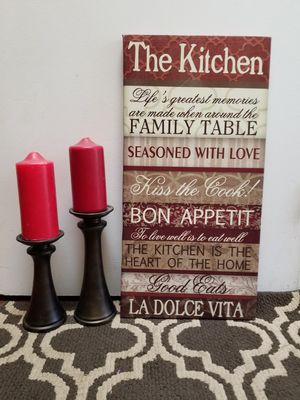 $13 for all five items two red candles two stands and the kitchen canvas for Sale in Moreno Valley, CA