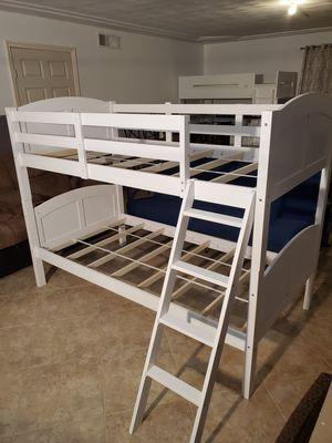 Angel Line Creston Twin Over Twin Wood Convertible Bunk Bed,white for Sale in El Paso, TX