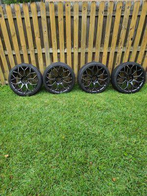 Cavallo wheels/rims clv-22 gloss black milled 5 lug for Sale in Apopka, FL