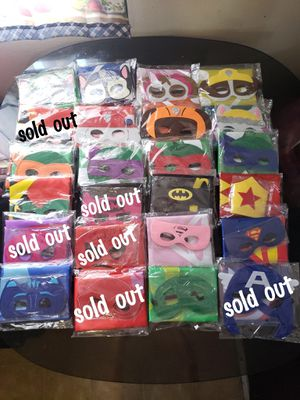 Halloween costume superhero cape and mask set batman- superman- wonder woman for Sale in Bellflower, CA