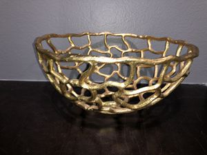 Gold colored fruit bowl for Sale in Ontario, CA