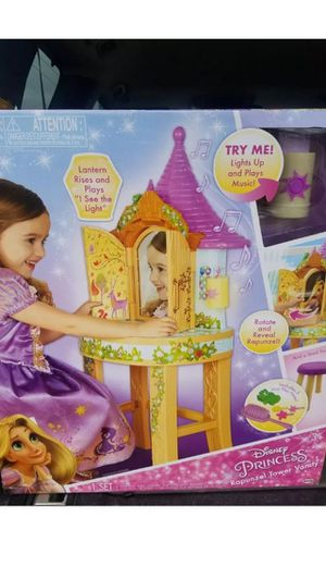 Brand New Disney Tangled Toddler Rapunzel Enchanted Real vanity mirror lights Lights sound stool for Sale in Carlsbad, CA