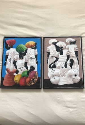 Haitian hand painted oil paintings for Sale in Los Angeles, CA
