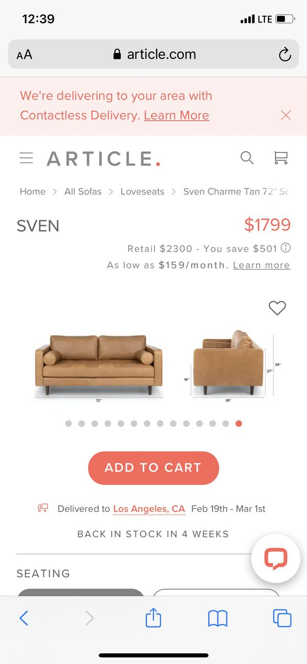 "Article Sven Charm Tan 72"" Sofa"