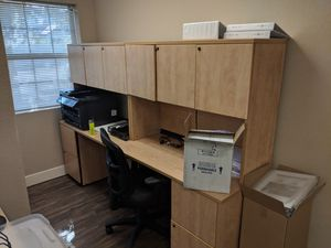 Two light wood desk with upper storage for Sale in Mesa, AZ