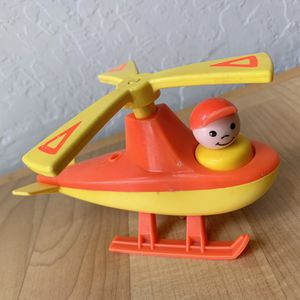 Vintage Fisher-Price Little People Orange & Yellow Helicopter Toy with Boy Figure for Sale in Elizabethtown, PA