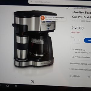 Hamilton Beach 2-way Brewer Coffee Maker Single Serve And 12-cup Pot Stainless Steel for Sale in Ceres, CA