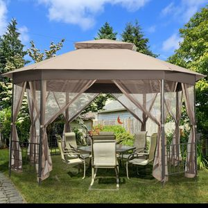 10'x 12' Octagonal Patio Gazebo in Brown Outdoor Use for Sale in Henderson, NV