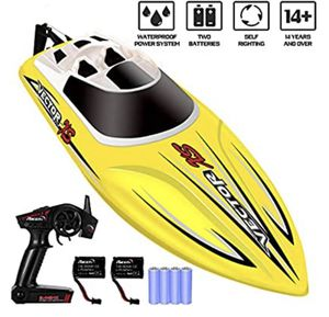 YEZI Remote Control Boat for Pools & Lakes,Udi001 Venom Fast RC Boat for Kids & Adults,Self Righting Remote Controlled Boat W/Extra Battery (Yellow) for Sale in Glendora, CA