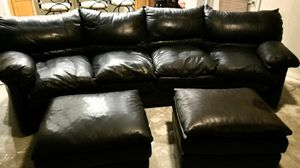 Leather Couch 2 Ottomons for Sale in Phoenix, AZ