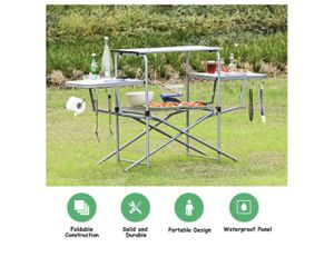 Foldable Camping Table Outdoor Kitchen Portable Grilling Stand Folding BBQ Table for Sale in La Mesa, CA