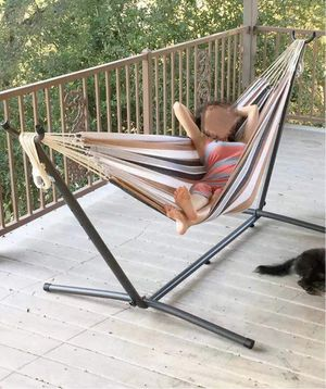 New in box $60 each 110 inches long 450 lbs capacity double hammock with metal stand included and carrying bag hamaca for Sale in Whittier, CA