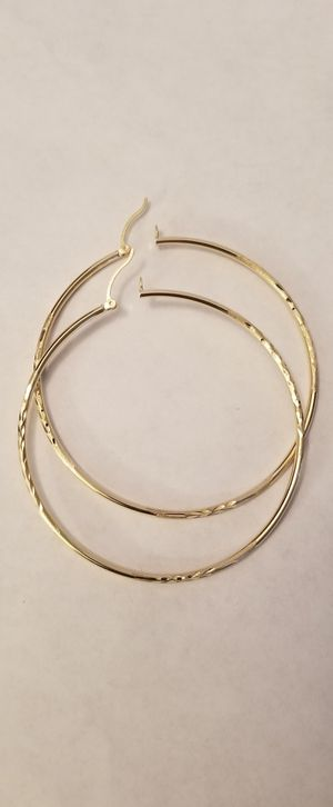 14k gold hoop earrings diamond cut for Sale in Fort Myers, FL