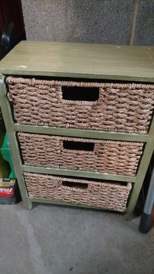Lite Green Three Wicker Basket Drawers/Stand for Sale in Alexandria, VA