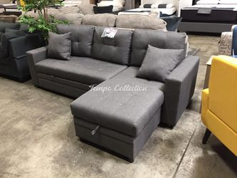 New Sectional Sofa with Rollout Bed and Storage, Reversible Chaise, SKU# MLT8008GYTC for Sale in Norwalk,  CA