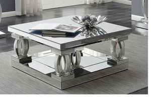 Avonlea Square Coffee Table With Lower Shelf Clear Mirror for Sale in Naples, FL