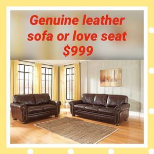 Genuine leather sofa or love seat $999 $1 Down no credit Check financing for Sale in Roslyn Heights, NY
