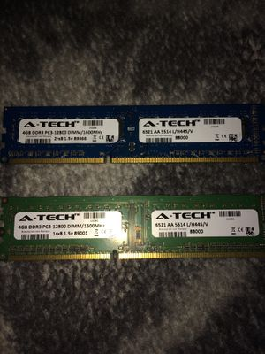8GB 2x4GB 1600Mhz DDR3 Ram for Sale in Moorhead, MN