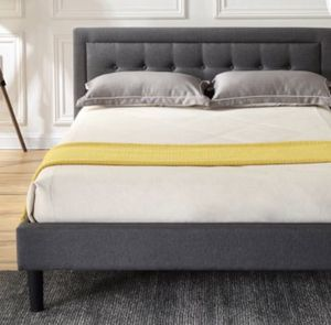 New!! Queen bed, bed, queen size bed, upholstered queen size bed , upholstered queen platform bed w headboard, queen foundation, queen bed base, gray for Sale in Phoenix, AZ