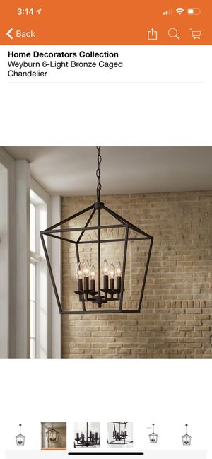 Home Decorators Collection Weyburn 6-Light Bronze Caged Chandelier for Sale in Fresno, CA