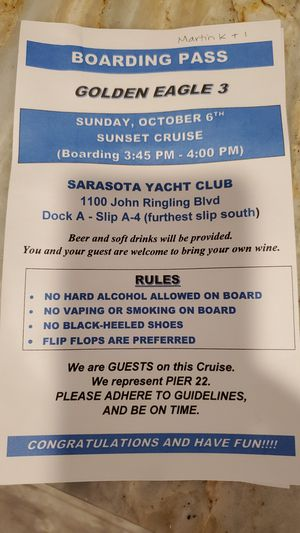 4 hour Sunset Cruise on a 63 feet Yatch with alcohol included for Sale in Bradenton, FL