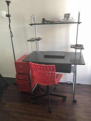 Desk chair red organizer lamp need it gone offer up for Sale in San Diego, CA