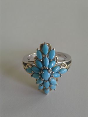 Sleeping Beauty Turquoise Ring, 14k and Platinum over Sterling, Size 8 for Sale in Woodbridge, VA