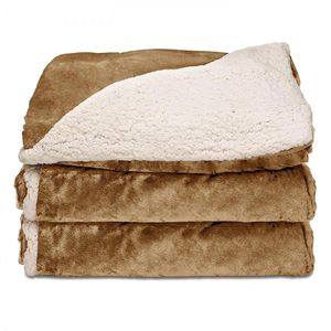 Sunbeam Heated Throw Blanket | Reversible Sherpa/Royal Mink, 3 Heat Settings, Honey for Sale in Las Vegas, NV