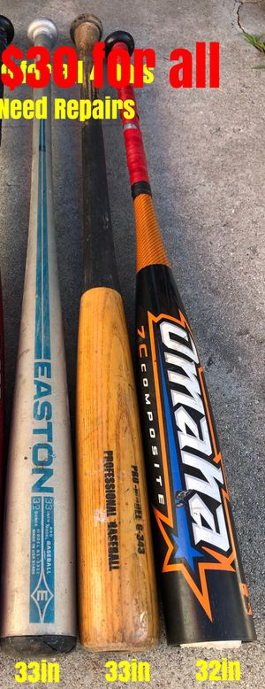 Baseball bats selling all together for $20 for all 3 bats equipment gloves Easton Rawlings for Sale in Culver City, CA
