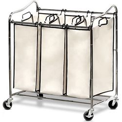Simple Trending Heavy-Duty 3-Bag Laundry Sorter Cart with Laundry Bag, Chrome for Sale in Chino,  CA
