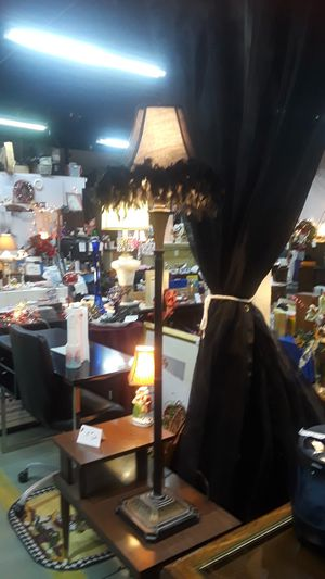Metal lamp with feather lampshade for Sale in Hazel Park, MI