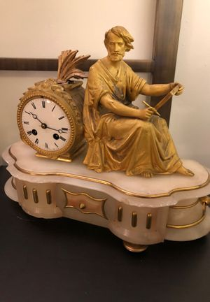 Antique French Figural Clock by Philippe H. Mourey for Sale in West Los Angeles, CA