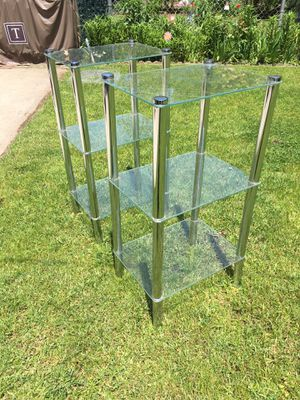 Two Glass n Chrome Display End Tables for Sale in Queens, NY