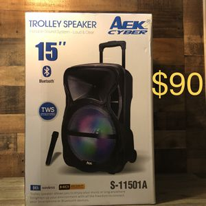 "15"" Aek CyBer Bluetooth Trolley Speaker With Microphone 🎤🔊🎶🎶 for Sale in Montebello, CA"