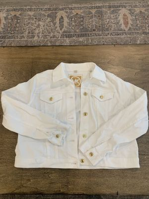Michael Kors Womens White Denim Jacket Gold Bottons for Sale in Miami, FL
